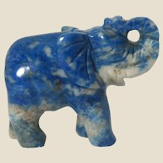 "Hand-Carved Miniature Elephant of Sodalite (believed to ""keep you shielded from negative forces in our imperfect world. "" )"