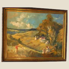 """ANTAL PECZELY (Hungarian. 1891 - 1963) - Original Signed Oil On Canvas - """"Peasants In The Field"""""""
