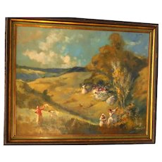 "ANTAL PECZELY (Hungarian. 1891 - 1963) - Original Signed Oil On Canvas - ""Peasants In The Field"""