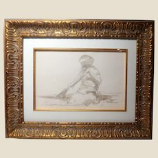 ANDRE GISSON  (French/American, 1921-2003) Original Signed Watercolor And Pencil On Paper, With COA-