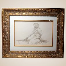 ANDRE GISSON  (French/American, 1921-2003) Original Signed Watercolor And Pencil On Paper, With COA
