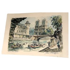 "Original Signed French Grand Tour Original Signed Watercolor ""Notre Dame"" , Dated 1961"