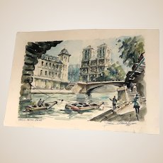 """Original Signed French Grand Tour Original Signed Watercolor """"Notre Dame"""" , Dated 1961"""