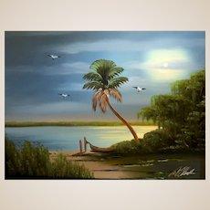 "AL BLACK - An Original Florida Highwaymen Artist -""Trinity Birds In The Moonlight"" - One-Of=A=Kind Signed Oil"