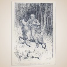 Poul Steffensen (Danish 1866-1923) - Original Pen And Pencil Drawing Fanciful Scene Man Riding An Elk or Reindeer, Signed and Dated 1898