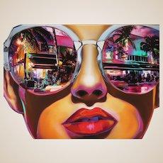 """South Beach"" - Huge Original Signed Oil On Canvas By Marc Rudinsky."