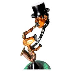 "PAUL DOUGLAS WEGNER (American b. 1950) Signed Limited Edition Bronze Sculpture - ""The Saxophone Player"""
