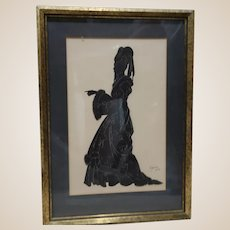 Old English Silhouette Detailed Pen and Ink Drawing Of A lady In The Traditional Dress of 1450 In England, Nicely Framed