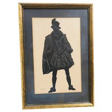 Old English Silhouette Detailed Pen and Ink Drawing Of A Gentleman In The Traditional Dress of 1550 In England, Nicely Framed