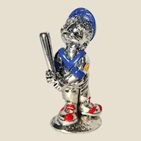 From Italy - Miniature 925 Silver Plated Baseball Player With Blue Cap,  Red Sneakers, And  Original Box And Paper