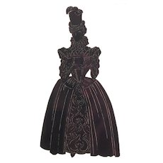 Old English Silhouette Detailed Drawing Of A lady In The Traditional Dress of 1600 In England, Nicely Framed