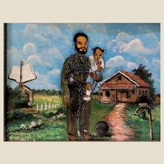 "- FLORIDA HIGHWAYMAN  - S. M. (Sylvester)  Wells  (American b. 1938) - -Original Signed Oil ""Slavery"" -"