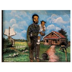 "- FLORIDA HIGHWAYMAN  - S. M. (Sylvester)  Wells  (American b. 1938) - -Original Signed Oil ""Slavery"" -"