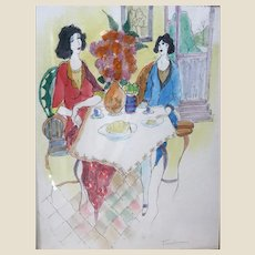 """ITZCHAK TARKAY (Israeli, 1935 – 2012) -ONE-OF-A-KIND Original Signed Large Watercolor Painting """"Flowers And Conversation"""" With COA From Artist's Widow"""