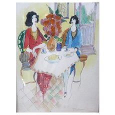 "ITZCHAK TARKAY (Israeli, 1935 – 2012) -ONE-OF-A-KIND Original Signed Large Watercolor Painting ""Flowers And Conversation"" With COA From Artist's Widow"