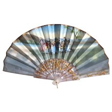 Vintage Spanish Hand-Painted Fan, Framed.  Quite Lovely!