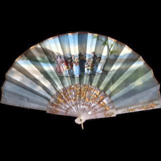 Vintage Spanish Hand-Painted Fan, Framed.  Quite Lovely!