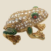 """""""Jeweled"""" Frog Trinket Box or Ring Box, Enamel and Faux Diamonds and Faux Ruby Eyes"""