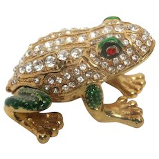 """Jeweled"" Frog Trinket Box or Ring Box, Enamel and Faux Diamonds and Faux Ruby Eyes"