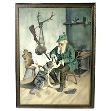 """""""A Friend In Need"""" - Original Signed Watercolor - 20th Century."""
