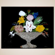 American Folk Art Mixed Media Bouquet In Carved Tramp Art Frame,  20th Century