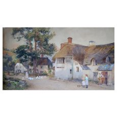"""Fritz B. Althaus (1863-1962) - """"The Royal Oak Inn, Winsford"""" Antique Signed Original Painting -Dated 1899"""