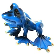 Bronze Frog Sculpture, Gorgeous Blue Color, Artist-Signed/Numbered, Absolutely Adorable.