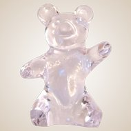 "DAUM (France) Art Glass (Fine Crystal) Teddy Bear Waving ""Hello"""