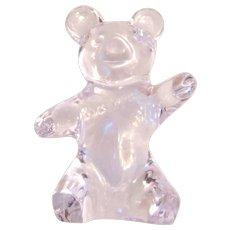 """DAUM (France) Art Glass (Fine Crystal) Teddy Bear Waving """"Hello"""""""