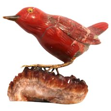 Mixed Media Sculpted Stone Red Bird On Agate Base With Crystals