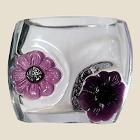 "DAUM NANCY (France)  Signed ""Coppelia"" Fine Crystal And Pate de Verre Vase - With Two Exquisite Pate de Verre  Flowers"