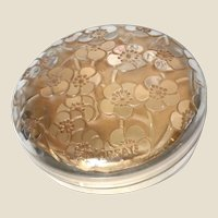 R. LALIQUE (France) Le Lys Powder Box For D'Orsay. Clear and Frosted With Sepia Patina, Circa 1922.