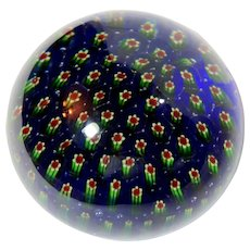 Beautiful Millefiori Art Glass Paperweight With Blue Ground