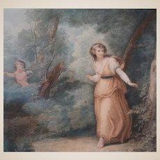 Color Stipple Engraving Of Cupid Watching.