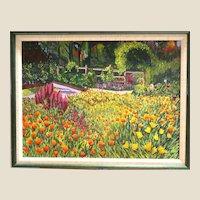 """Garden of Eden"" Signed Original Impressionist Acrylic On Canvas, Marvelous!"