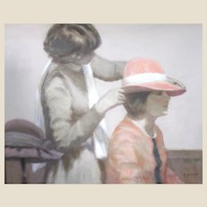 """ANDRE GISSON  (French/American, 1921-2003) Original Signed Mixed Media (Oil and Gouache) - """"Hat Shop"""""""