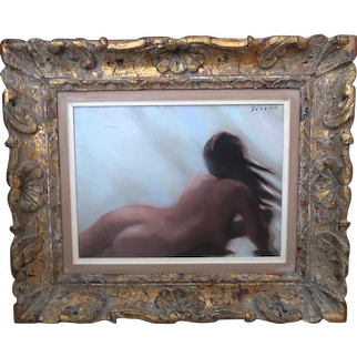 """ANDRE GISSON (French/American, 1921-2003) Original Signed Oil on Canvas """"Reclining Nude"""""""