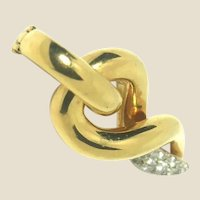 Round Brilliant Cut Diamond and 18 Karat Yellow Gold Pendant, Vintage