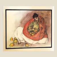 "R. C. GORMAN (American Navajo 1931 - 2005) - ""Woman with Pears""  Beautiful Wall Hanging Ceramic Tile, Signed/Dated Under The Glaze- 1977"
