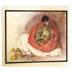 """R. C. GORMAN (American Navajo 1931 - 2005) - """"Woman with Pears""""  Beautiful Wall Hanging Ceramic Tile, Signed/Dated Under The Glaze- 1977"""
