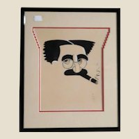 """""""GROUCHO MARX"""" Signed Mixed Media , Nicely Double Matted and Framed - Great Conversation Piece!"""