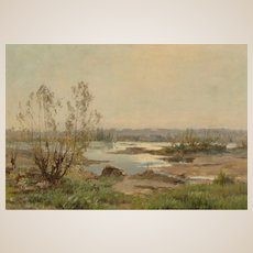 "Armand Auguste Balouzet (French, 1858-1905) - Original Signed Oil On Canvas ""Paysage à la Rivière"""