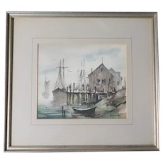"John Cuthbert Hare (1908 - 1978) Original Signed Watercolor ""Menemsha Mist"" - Exquisite Martha's Vineyard Small Fishing Village."