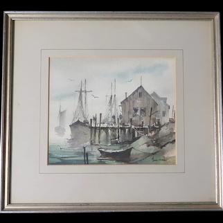 "John Cuthbert Hare (1908 - 1978) Original Signed Watercolor ""Menemsha Mist"" - Exquisite Martha's Vineyard Small Fishing Village."