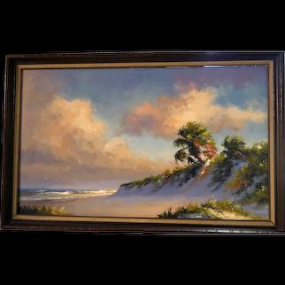 "HAROLD NEWTON (American 1934-1994) Hall of Fame Original Highwaymen - Museum Quality Large Signed Original Oil Painting ""Rio Mar"""