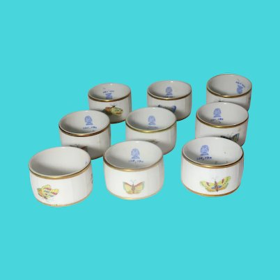 HEREND (Hungary) -NINE Queen Victoria Napkin Rings - Butterflies and Flowers -