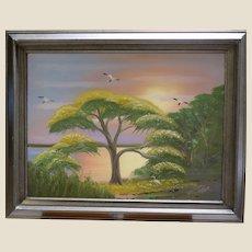 """AL BLACK - An Original Florida Highwaymen Artist -""""Waiting For Blooms"""" - One-Of=A=Kind Signed Oil"""