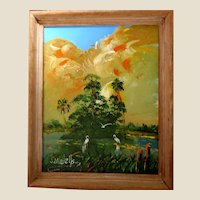 - FLORIDA HIGHWAYMAN  - S. M. (Sylvester)  Wells  (American b. 1938) - -Original Signed Oil - Outstanding and Exciting!
