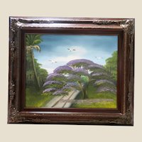 "AL BLACK - An Original Florida Highwaymen Artist - ""The Indian River Purple Jacaranda"" - Original Signed Oil On Board"