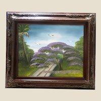 "AL BLACK - An Original Florida Highwaymen Artist - ""The Indian River Purple Jacaranda"" - Original Signed Oil On Board"